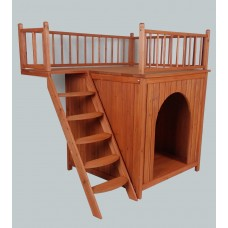 X-LARGE WOODEN CAT HOUSE TIMBER DOG KENNEL WOOD HOUSE Stairs Balcony